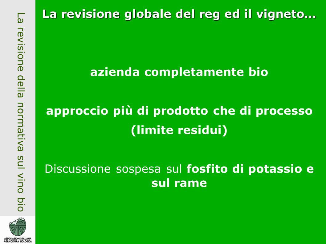 La revisione della normativa sul vino bio La revisione globale del reg ed il vigneto...