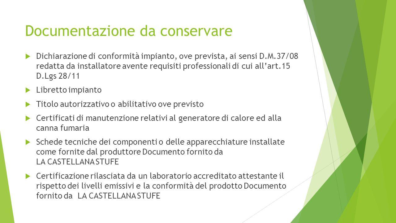 Documentazione da conservare  Dichiarazione di conformità impianto, ove prevista, ai sensi D.M.37/08 redatta da installatore avente requisiti profess
