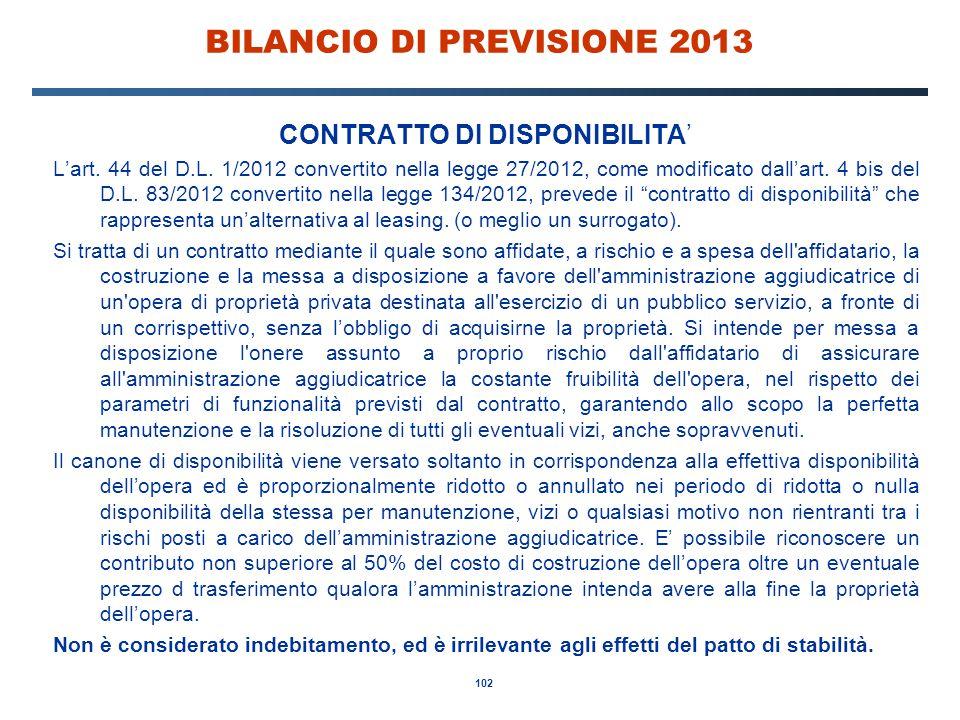 102 BILANCIO DI PREVISIONE 2013 CONTRATTO DI DISPONIBILITA' L'art.