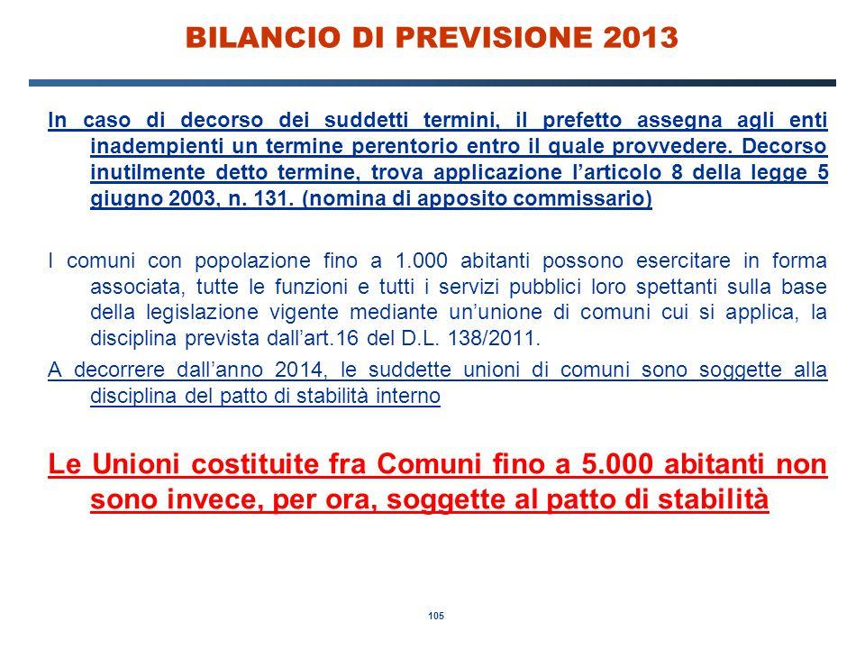 105 BILANCIO DI PREVISIONE 2013 In caso di decorso dei suddetti termini, il prefetto assegna agli enti inadempienti un termine perentorio entro il quale provvedere.