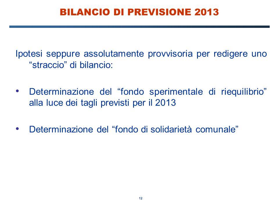 12 BILANCIO DI PREVISIONE 2013 Ipotesi seppure assolutamente provvisoria per redigere uno straccio di bilancio: Determinazione del fondo sperimentale di riequilibrio alla luce dei tagli previsti per il 2013 Determinazione del fondo di solidarietà comunale