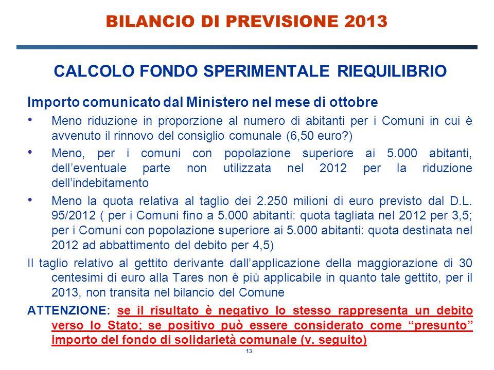 13 BILANCIO DI PREVISIONE 2013 CALCOLO FONDO SPERIMENTALE RIEQUILIBRIO Importo comunicato dal Ministero nel mese di ottobre Meno riduzione in proporzione al numero di abitanti per i Comuni in cui è avvenuto il rinnovo del consiglio comunale (6,50 euro ) Meno, per i comuni con popolazione superiore ai 5.000 abitanti, dell'eventuale parte non utilizzata nel 2012 per la riduzione dell'indebitamento Meno la quota relativa al taglio dei 2.250 milioni di euro previsto dal D.L.