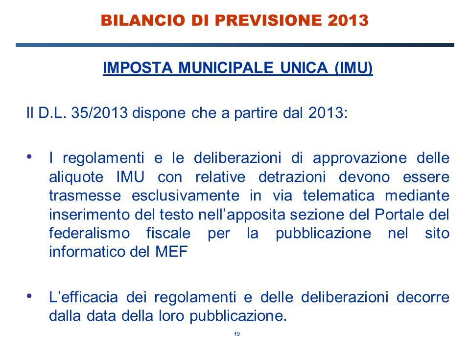 19 BILANCIO DI PREVISIONE 2013 IMPOSTA MUNICIPALE UNICA (IMU) Il D.L.