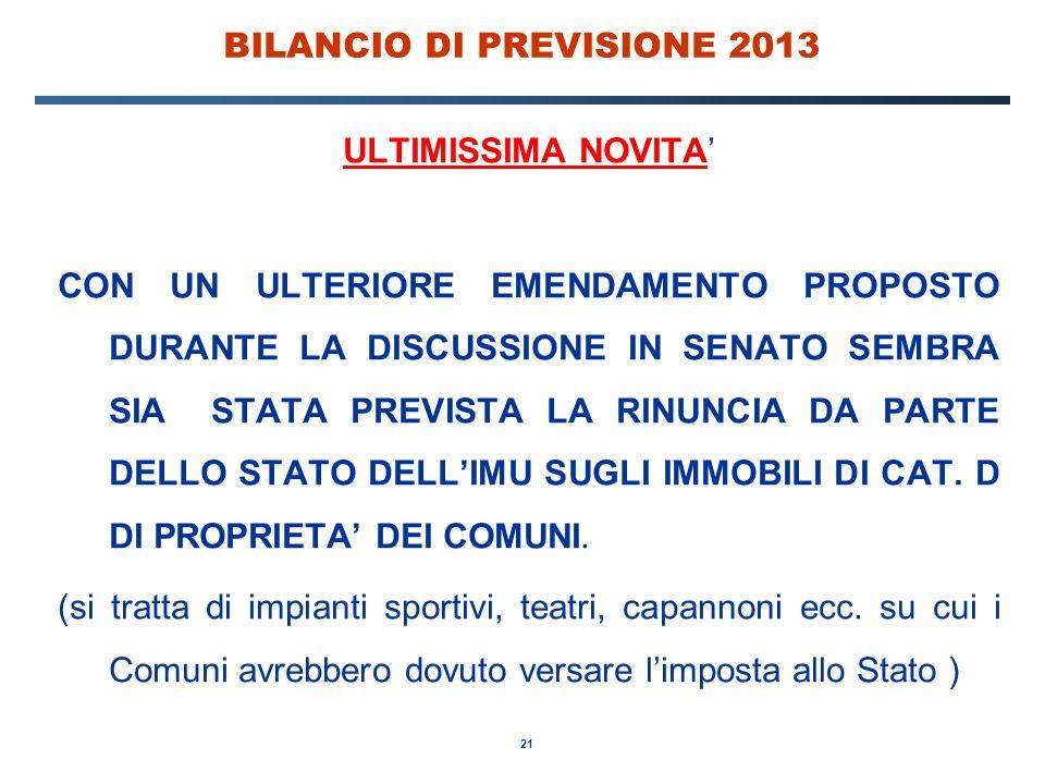 21 BILANCIO DI PREVISIONE 2013 ULTIMISSIMA NOVITA' CON UN ULTERIORE EMENDAMENTO PROPOSTO DURANTE LA DISCUSSIONE IN SENATO SEMBRA SIA STATA PREVISTA LA RINUNCIA DA PARTE DELLO STATO DELL'IMU SUGLI IMMOBILI DI CAT.