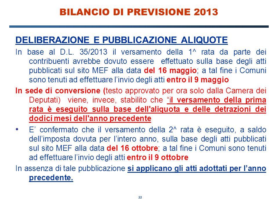 22 BILANCIO DI PREVISIONE 2013 DELIBERAZIONE E PUBBLICAZIONE ALIQUOTE In base al D.L.