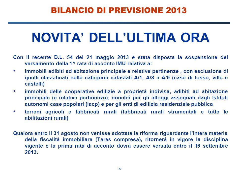 23 BILANCIO DI PREVISIONE 2013 NOVITA' DELL'ULTIMA ORA Con il recente D.L.