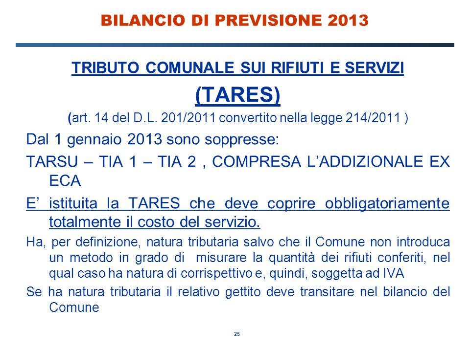 25 BILANCIO DI PREVISIONE 2013 TRIBUTO COMUNALE SUI RIFIUTI E SERVIZI (TARES) (art.