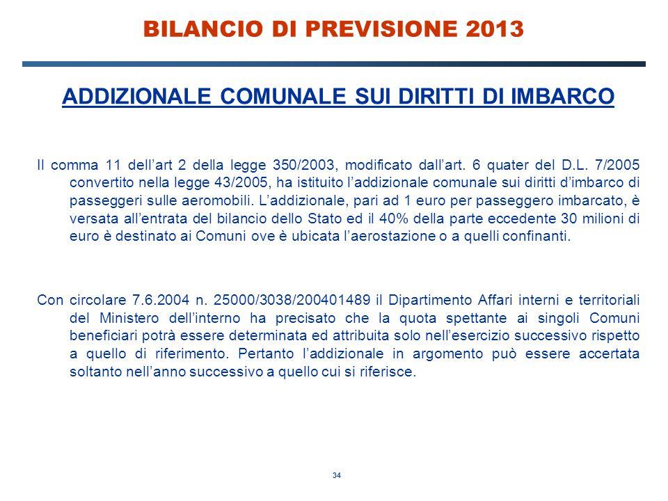 34 BILANCIO DI PREVISIONE 2013 ADDIZIONALE COMUNALE SUI DIRITTI DI IMBARCO Il comma 11 dell'art 2 della legge 350/2003, modificato dall'art.