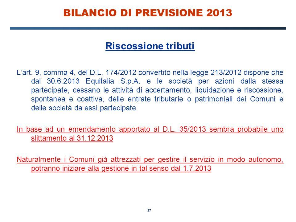 37 BILANCIO DI PREVISIONE 2013 Riscossione tributi L'art.