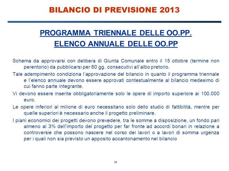 39 BILANCIO DI PREVISIONE 2013 PROGRAMMA TRIENNALE DELLE OO.PP.
