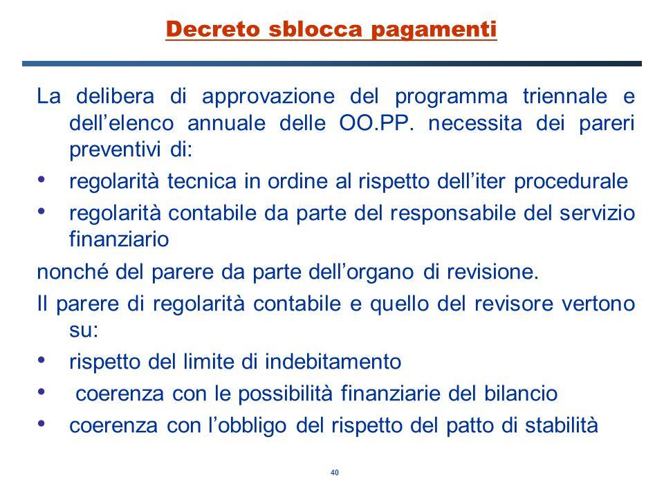 40 Decreto sblocca pagamenti La delibera di approvazione del programma triennale e dell'elenco annuale delle OO.PP.