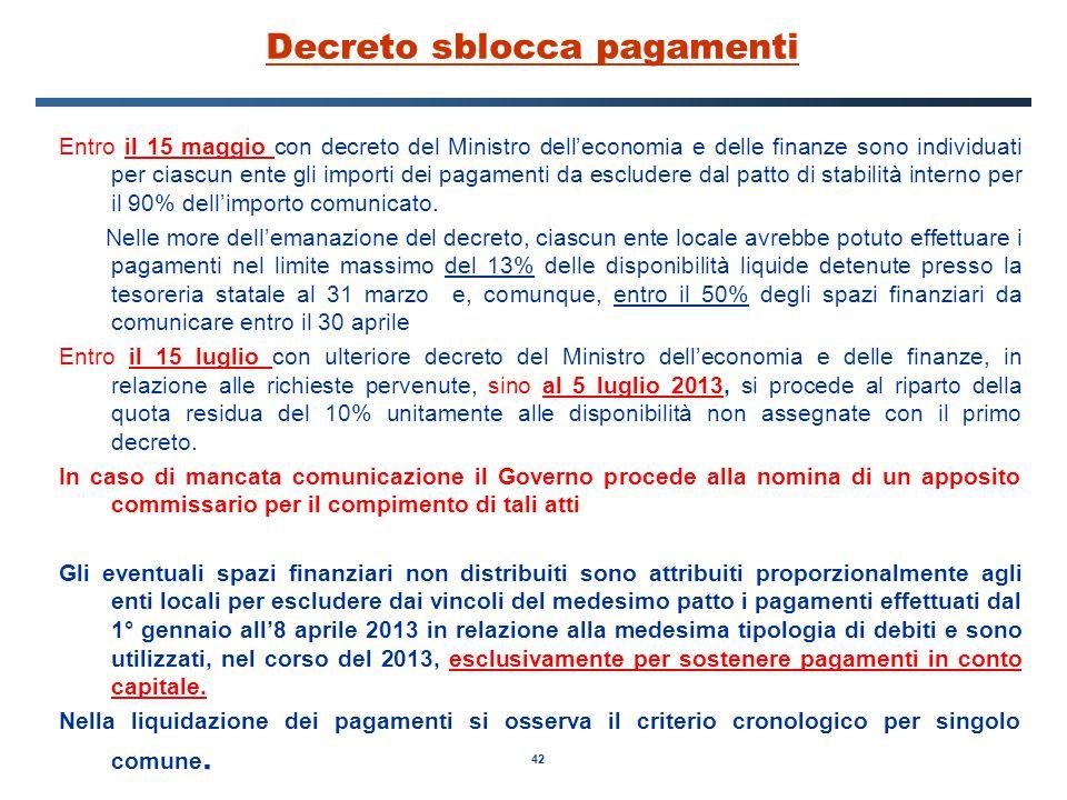 42 Decreto sblocca pagamenti Entro il 15 maggio con decreto del Ministro dell'economia e delle finanze sono individuati per ciascun ente gli importi dei pagamenti da escludere dal patto di stabilità interno per il 90% dell'importo comunicato.