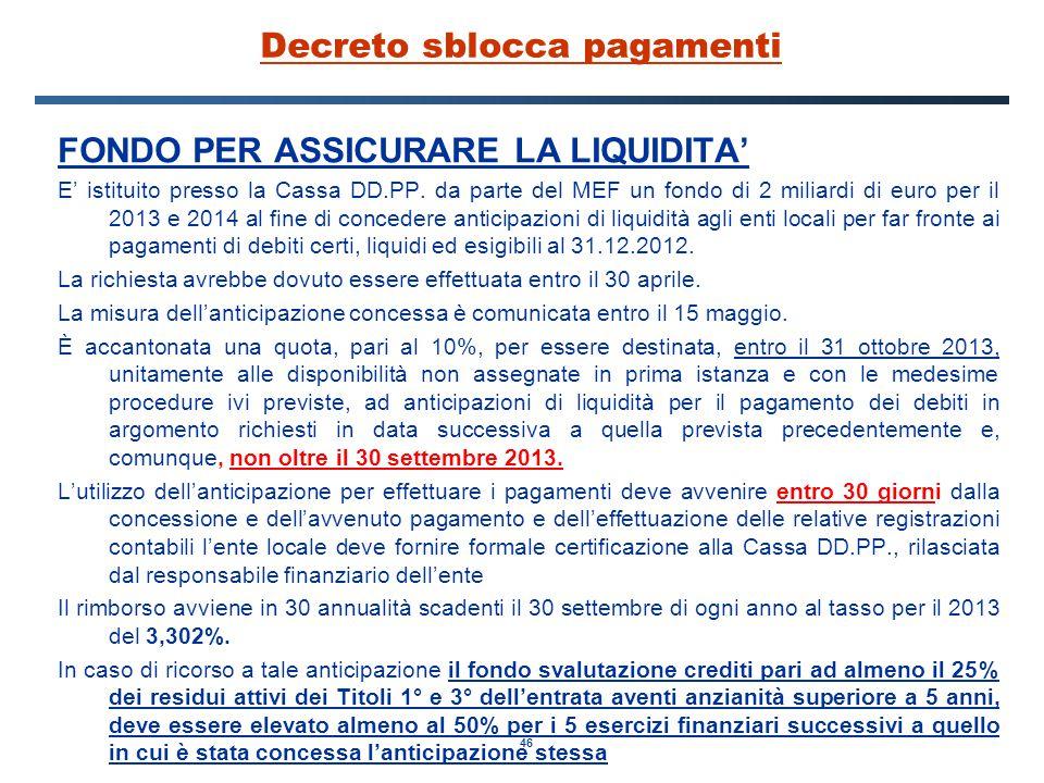 46 Decreto sblocca pagamenti FONDO PER ASSICURARE LA LIQUIDITA' E' istituito presso la Cassa DD.PP.