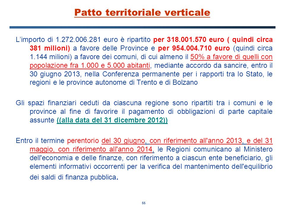 55 Patto territoriale verticale L'importo di 1.272.006.281 euro è ripartito per 318.001.570 euro ( quindi circa 381 milioni) a favore delle Province e per 954.004.710 euro (quindi circa 1.144 milioni) a favore dei comuni, di cui almeno il 50% a favore di quelli con popolazione fra 1.000 e 5.000 abitanti, mediante accordo da sancire, entro il 30 giugno 2013, nella Conferenza permanente per i rapporti tra lo Stato, le regioni e le province autonome di Trento e di Bolzano Gli spazi finanziari ceduti da ciascuna regione sono ripartiti tra i comuni e le province al fine di favorire il pagamento di obbligazioni di parte capitale assunte ((alla data del 31 dicembre 2012)) Entro il termine perentorio del 30 giugno, con riferimento all anno 2013, e del 31 maggio, con riferimento all anno 2014, le Regioni comunicano al Ministero dell economia e delle finanze, con riferimento a ciascun ente beneficiario, gli elementi informativi occorrenti per la verifica del mantenimento dell equilibrio dei saldi di finanza pubblica.