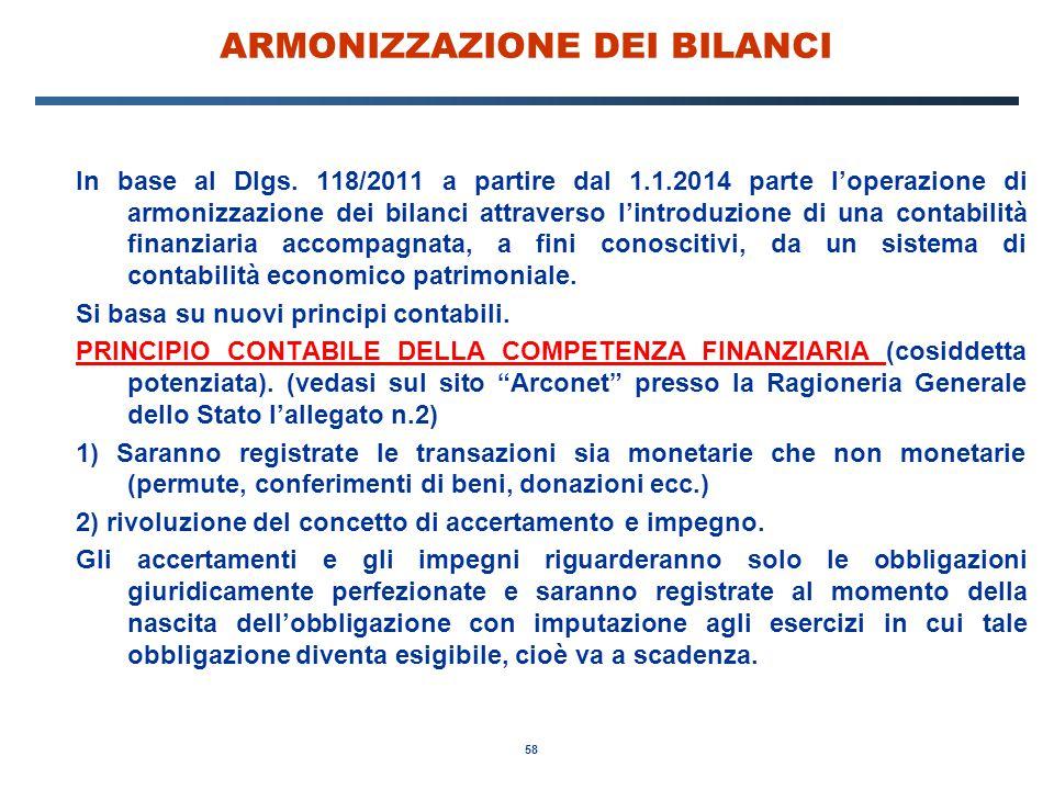 58 ARMONIZZAZIONE DEI BILANCI In base al Dlgs.