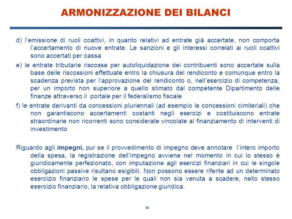 60 ARMONIZZAZIONE DEI BILANCI d) l'emissione di ruoli coattivi, in quanto relativi ad entrate già accertate, non comporta l'accertamento di nuove entrate.