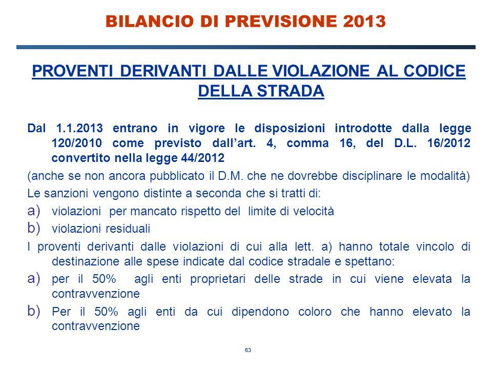 63 BILANCIO DI PREVISIONE 2013 PROVENTI DERIVANTI DALLE VIOLAZIONE AL CODICE DELLA STRADA Dal 1.1.2013 entrano in vigore le disposizioni introdotte dalla legge 120/2010 come previsto dall'art.