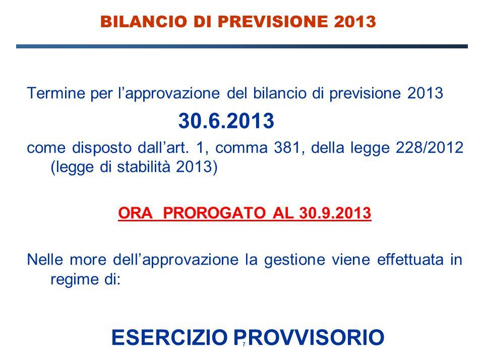 7 BILANCIO DI PREVISIONE 2013 Termine per l'approvazione del bilancio di previsione 2013 30.6.2013 come disposto dall'art.