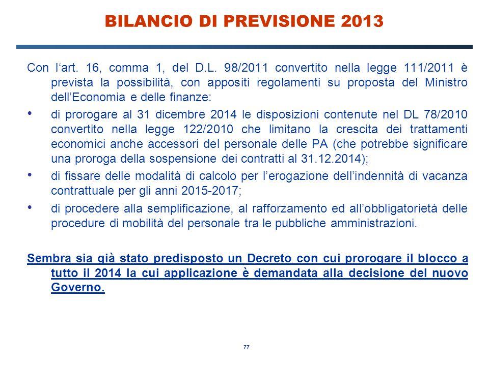 77 BILANCIO DI PREVISIONE 2013 Con l'art. 16, comma 1, del D.L.