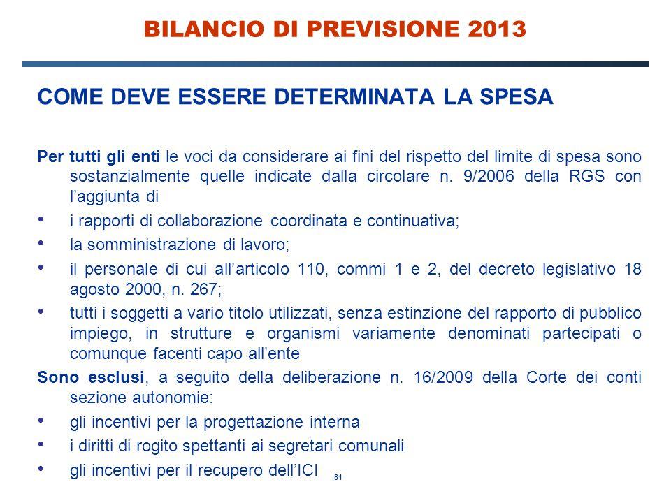 81 BILANCIO DI PREVISIONE 2013 COME DEVE ESSERE DETERMINATA LA SPESA Per tutti gli enti le voci da considerare ai fini del rispetto del limite di spesa sono sostanzialmente quelle indicate dalla circolare n.