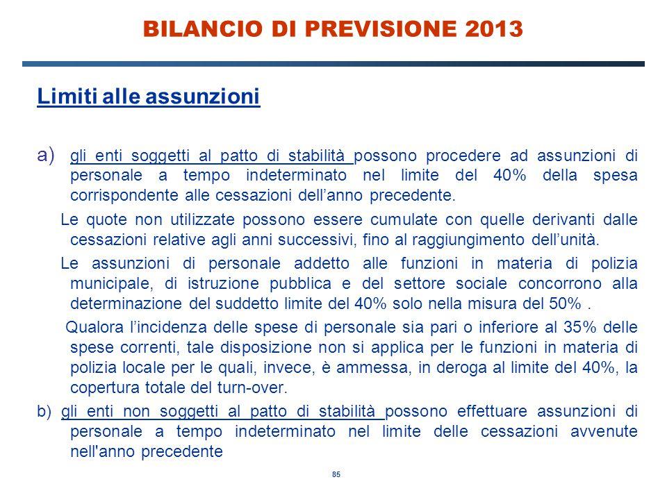 85 BILANCIO DI PREVISIONE 2013 Limiti alle assunzioni a) gli enti soggetti al patto di stabilità possono procedere ad assunzioni di personale a tempo indeterminato nel limite del 40% della spesa corrispondente alle cessazioni dell'anno precedente.