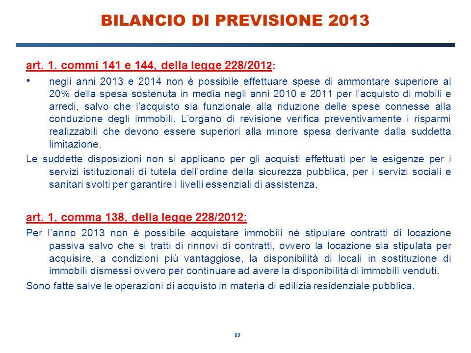 89 BILANCIO DI PREVISIONE 2013 art. 1.