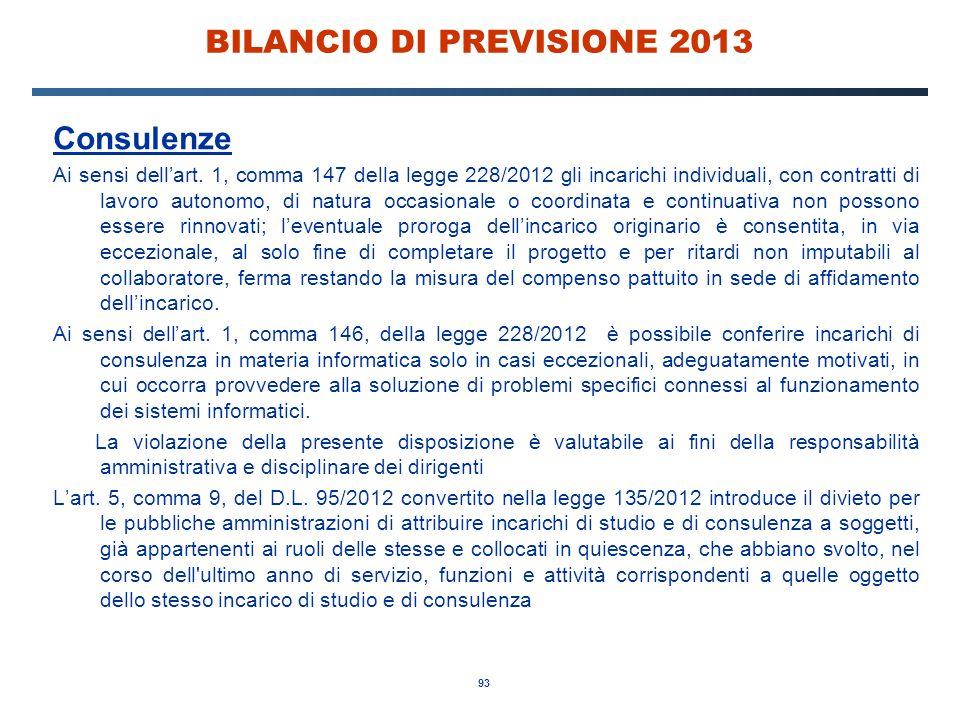 93 BILANCIO DI PREVISIONE 2013 Consulenze Ai sensi dell'art.
