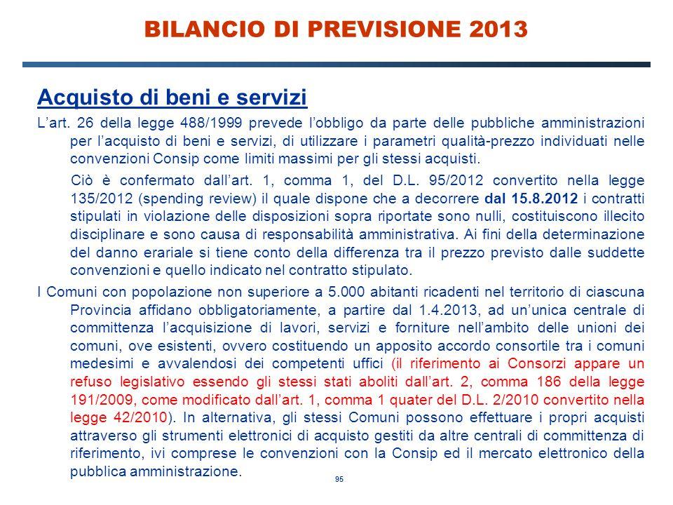 95 BILANCIO DI PREVISIONE 2013 Acquisto di beni e servizi L'art.