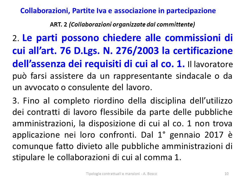 Collaborazioni, Partite Iva e associazione in partecipazione ART. 2 (Collaborazioni organizzate dal committente) 2. Le parti possono chiedere alle com