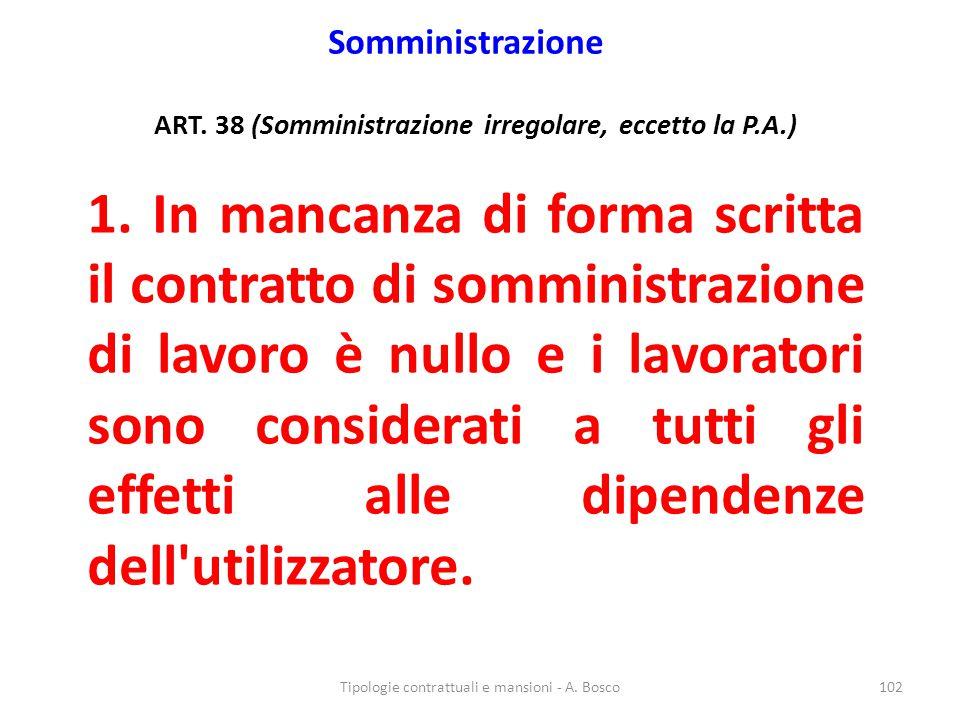 Somministrazione ART. 38 (Somministrazione irregolare, eccetto la P.A.) 1. In mancanza di forma scritta il contratto di somministrazione di lavoro è n