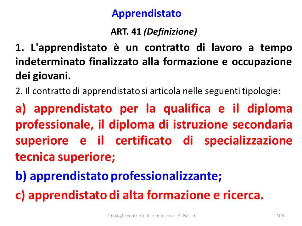 Apprendistato ART. 41 (Definizione) 1. L'apprendistato è un contratto di lavoro a tempo indeterminato finalizzato alla formazione e occupazione dei gi