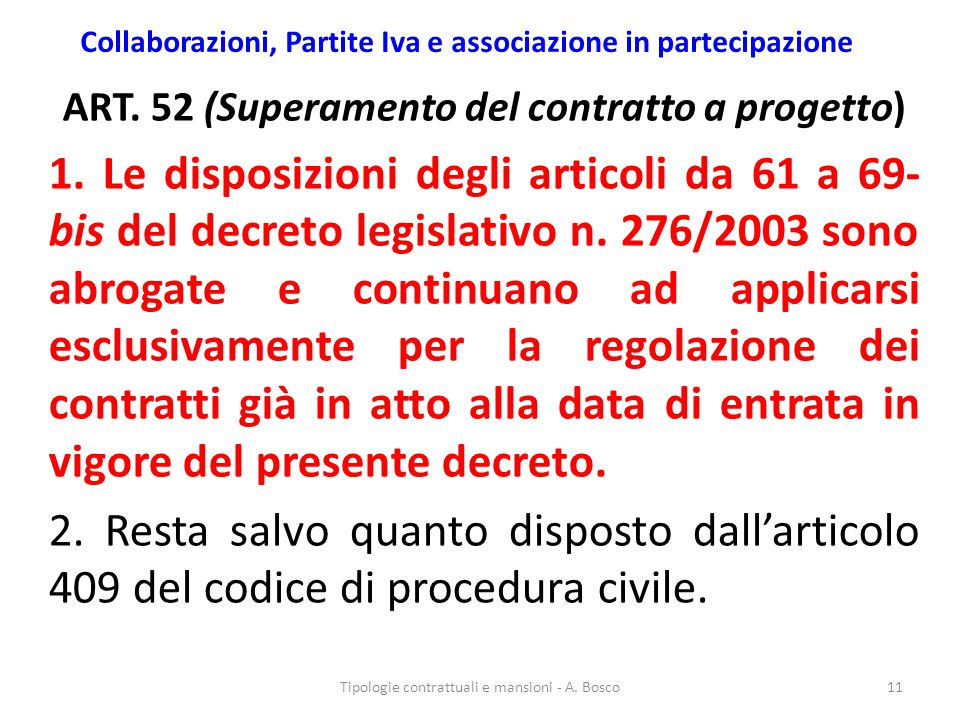Collaborazioni, Partite Iva e associazione in partecipazione ART. 52 (Superamento del contratto a progetto) 1. Le disposizioni degli articoli da 61 a