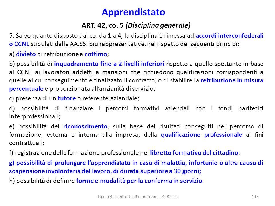 Apprendistato ART. 42, co. 5 (Disciplina generale) 5. Salvo quanto disposto dai co. da 1 a 4, la disciplina è rimessa ad accordi interconfederali o CC