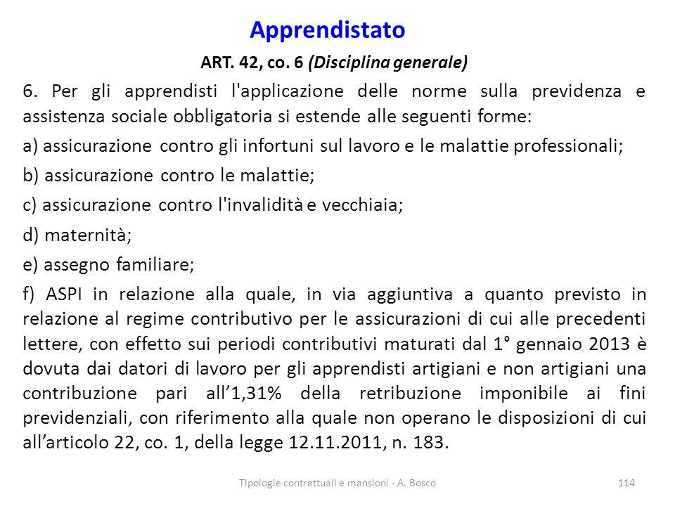 Apprendistato ART. 42, co. 6 (Disciplina generale) 6. Per gli apprendisti l'applicazione delle norme sulla previdenza e assistenza sociale obbligatori