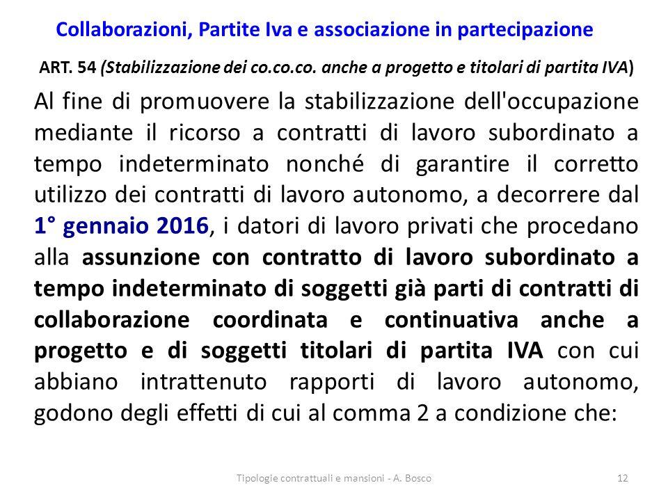 Collaborazioni, Partite Iva e associazione in partecipazione ART. 54 (Stabilizzazione dei co.co.co. anche a progetto e titolari di partita IVA) Al fin