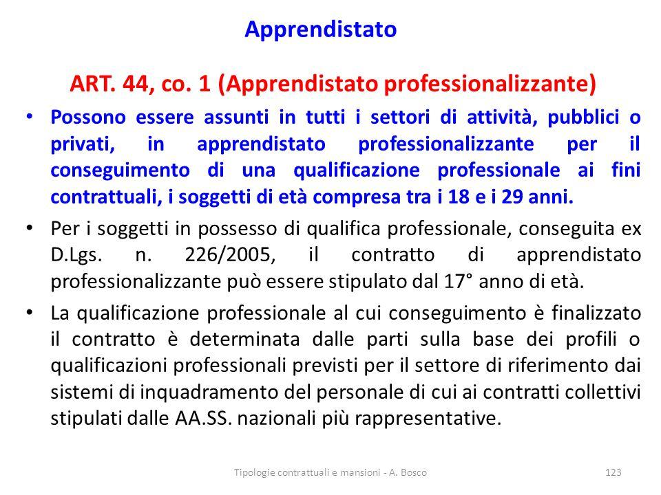 Apprendistato ART. 44, co. 1 (Apprendistato professionalizzante) Possono essere assunti in tutti i settori di attività, pubblici o privati, in apprend