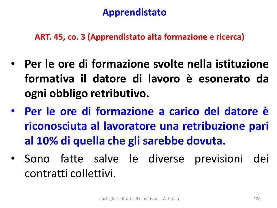 Apprendistato ART. 45, co. 3 (Apprendistato alta formazione e ricerca) Per le ore di formazione svolte nella istituzione formativa il datore di lavoro