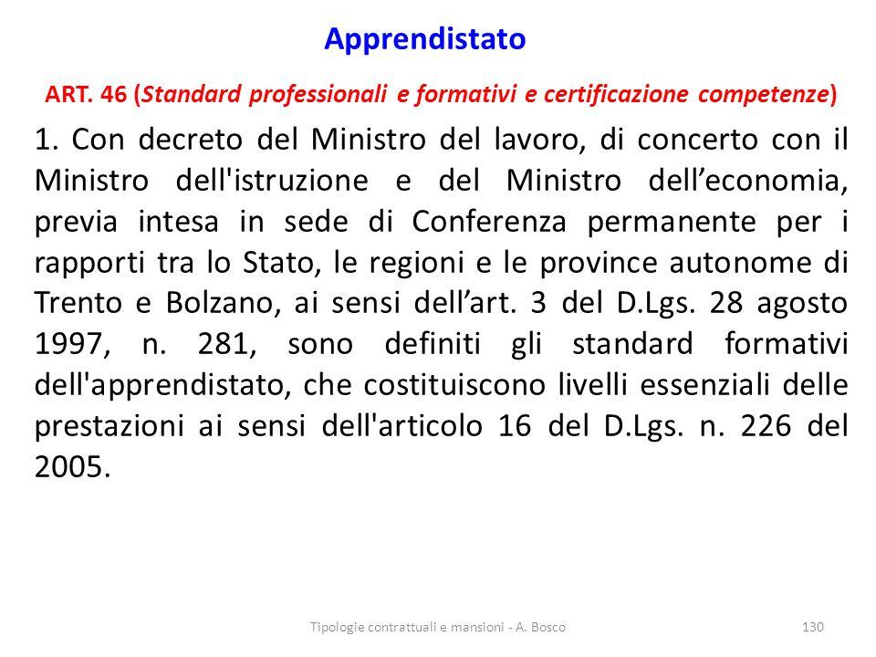 Apprendistato ART. 46 (Standard professionali e formativi e certificazione competenze) 1. Con decreto del Ministro del lavoro, di concerto con il Mini
