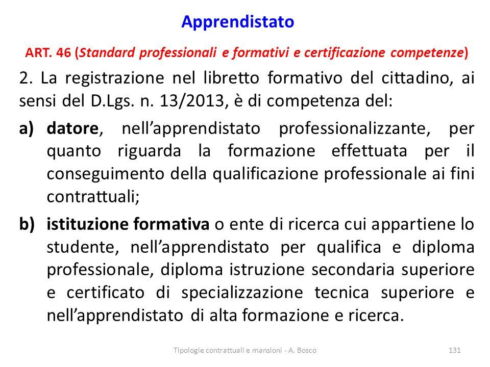 Apprendistato ART. 46 (Standard professionali e formativi e certificazione competenze) 2. La registrazione nel libretto formativo del cittadino, ai se