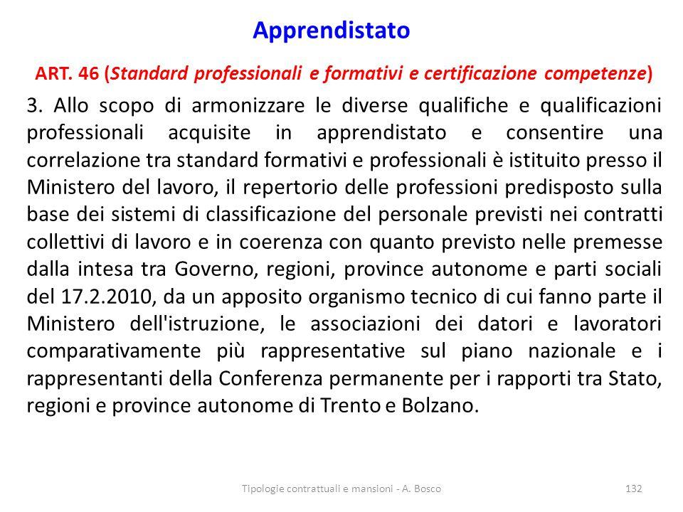 Apprendistato ART. 46 (Standard professionali e formativi e certificazione competenze) 3. Allo scopo di armonizzare le diverse qualifiche e qualificaz