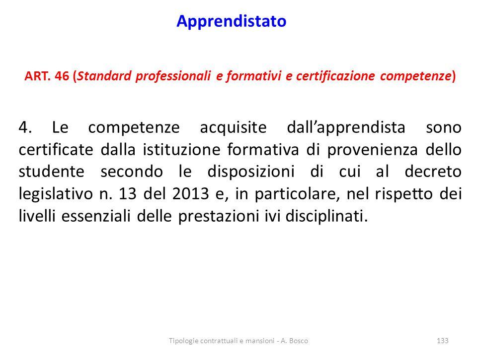 Apprendistato ART. 46 (Standard professionali e formativi e certificazione competenze) 4. Le competenze acquisite dall'apprendista sono certificate da