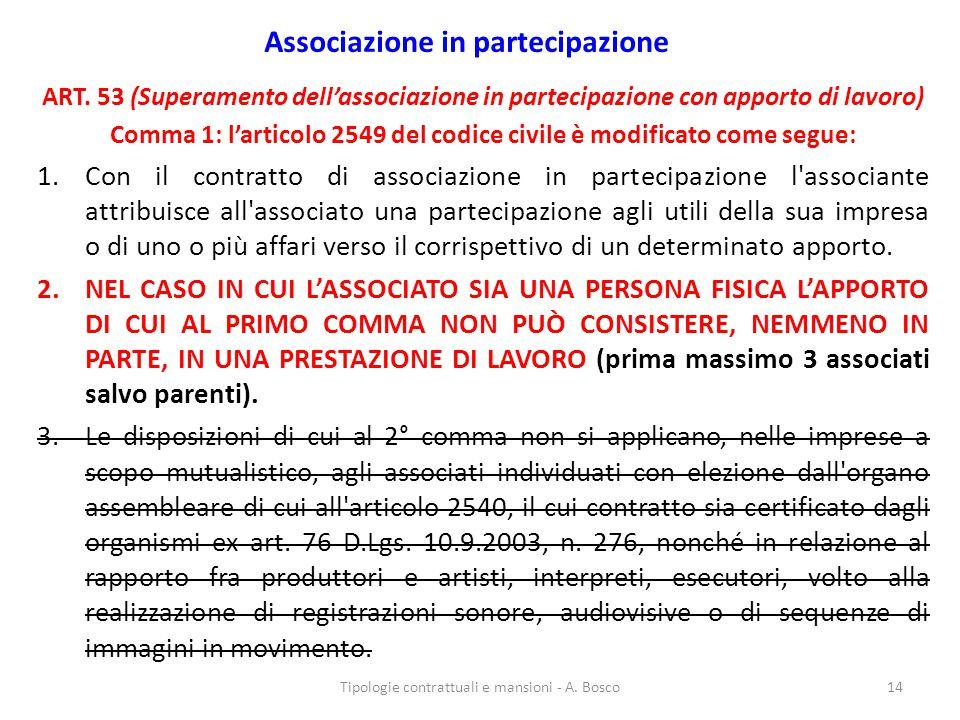 Associazione in partecipazione ART. 53 (Superamento dell'associazione in partecipazione con apporto di lavoro) Comma 1: l'articolo 2549 del codice civ