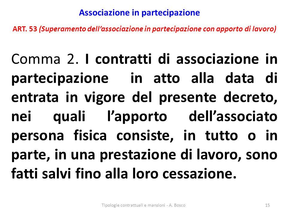 Associazione in partecipazione ART. 53 (Superamento dell'associazione in partecipazione con apporto di lavoro) Comma 2. I contratti di associazione in