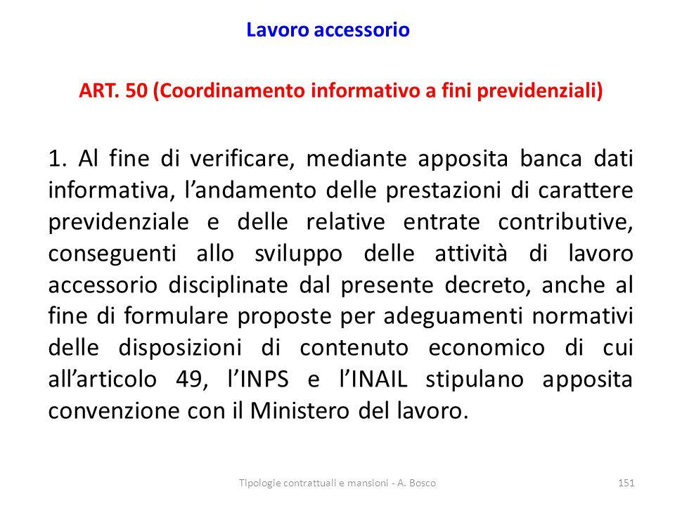 Lavoro accessorio ART.50 (Coordinamento informativo a fini previdenziali) 1.