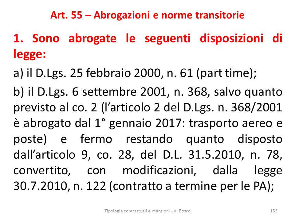 Art. 55 – Abrogazioni e norme transitorie 1. Sono abrogate le seguenti disposizioni di legge: a) il D.Lgs. 25 febbraio 2000, n. 61 (part time); b) il