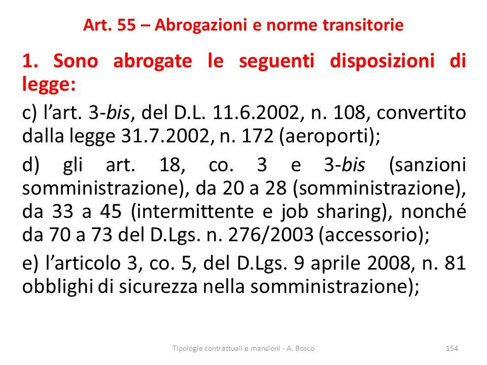 Art. 55 – Abrogazioni e norme transitorie 1. Sono abrogate le seguenti disposizioni di legge: c) l'art. 3-bis, del D.L. 11.6.2002, n. 108, convertito