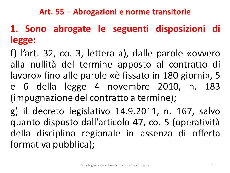 Art. 55 – Abrogazioni e norme transitorie 1. Sono abrogate le seguenti disposizioni di legge: f) l'art. 32, co. 3, lettera a), dalle parole «ovvero al