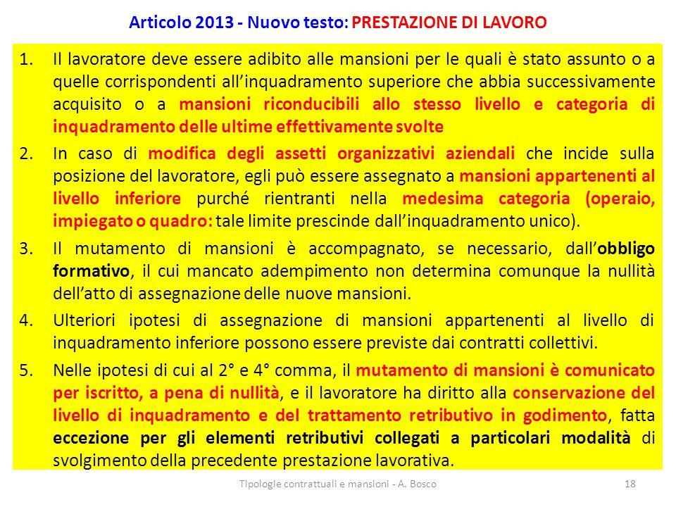 Articolo 2013 - Nuovo testo: PRESTAZIONE DI LAVORO 1.Il lavoratore deve essere adibito alle mansioni per le quali è stato assunto o a quelle corrispon