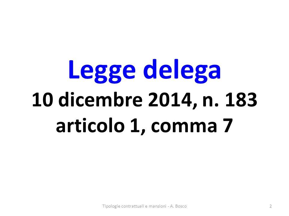 Legge delega 10 dicembre 2014, n.183 articolo 1, comma 7 Tipologie contrattuali e mansioni - A.