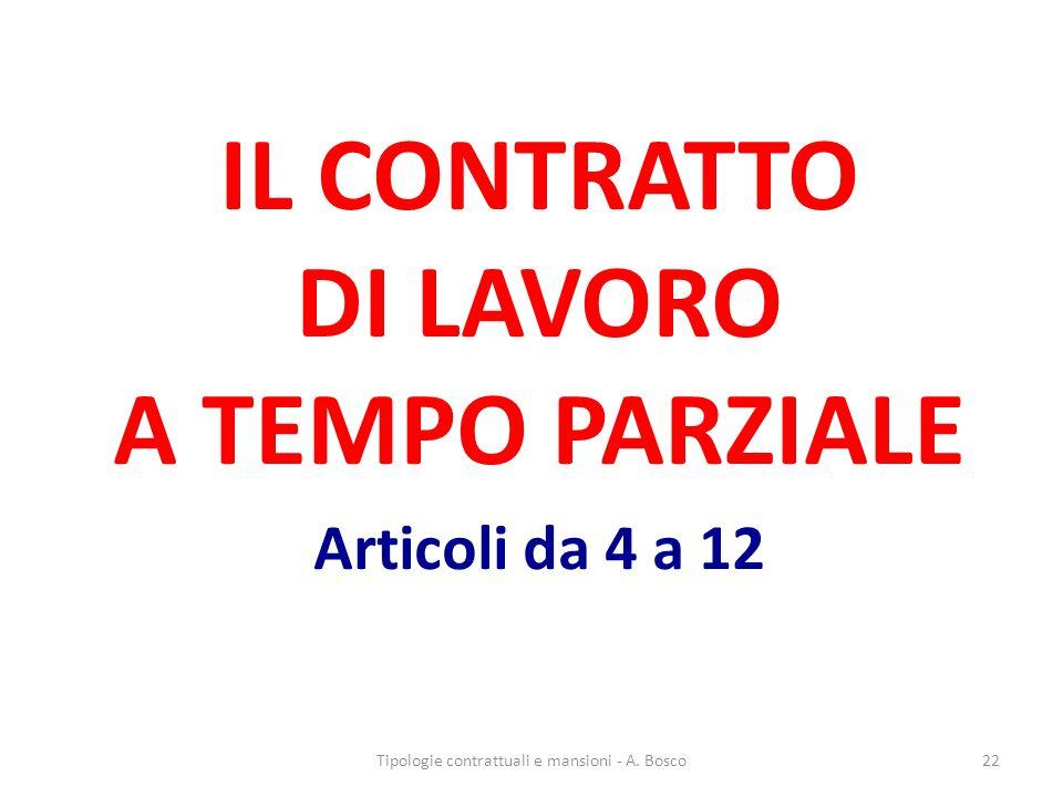 IL CONTRATTO DI LAVORO A TEMPO PARZIALE Articoli da 4 a 12 Tipologie contrattuali e mansioni - A.